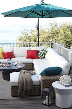 Teal Outdoor Umbrella And Fabulous Outdoor Couches