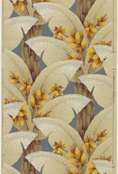 Sidewall | France, 1930-1940 | Machine-printed on paper | Large-scale foliate pattern with large flat leaves and floral stems sprouting of a woody stalk | Cooper-Hewitt