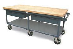 Mobile Shop Table with Maple Top - Shop table with 7 gauge steel top and 12 gauge steel bottom shelf and 2 drawers with casters and push handle.