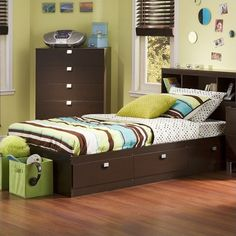 Twin Bed Frames With Green Pillow Design