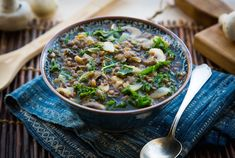 Miso soup with garlicky lentils, kale + mushrooms. (Tested, less broth)