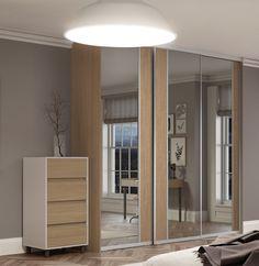 Premium Midi vertical split panel sliding wardrobe doors in Mirror and Natural Oak with a Satin Silver frame.