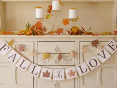 FALL IN LOVE banner bunting for fall wedding, autumn wedding, bridal shower, engagement party