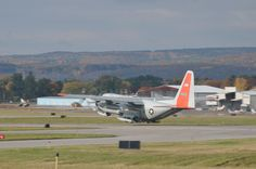 LC-130 Hercules with the 109th Airlift Wing takes off from Stratton Air National Guard Base, Scotia, New York, on Oct. 17, 2014. The aircraft is headed to Antarctica for the Wing's 27th year participating in Operation Deep Freeze in support of the National Science Foundation. The 109th AW boasts the U.S. military's only ski-equipped aircraft, which has been supporting the NSF's South Pole research since 1988. (U.S. Air National Guard photo by Master Sgt. William Gizara/Released)
