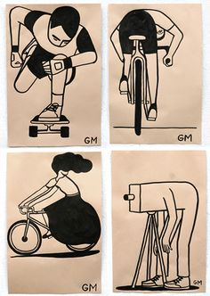 (Geoff McFetridge, via) The immiseration of the digital creative class The popular adoption of the internet has brought with it great changes. Geoff Mcfetridge, 3d Pencil Drawings, Bike Drawing, Bike Illustration, Travel Sketchbook, Theme Harry Potter, Sculpture Painting, Writing Inspiration, Art Inspo