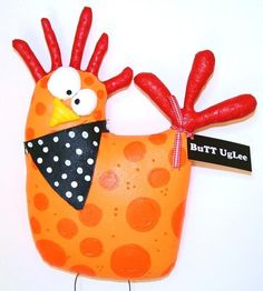 ChickeN named Macy ...WhimsicaL WaLL ArT ...Orange Polka dots ...Farm AnimaL