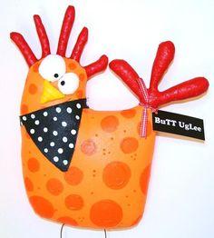 ChickeN named Macy  ...WhimsicaL WaLL ArT ...Orange Polka dots ...Farm AnimaL