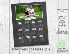 Calendar Photography Template 8x10  Photoshop by InstantTemplates, $4.95 #photography #photographers #photographer #template #templates #calendar #calender #calendars #2015 #2016 #family #chalk #board #chalkboard