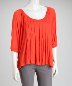 Take a look at this Orange Pleated Sidetail Top by Costa Blanca on #zulily today!  $24.99, regular 52.00