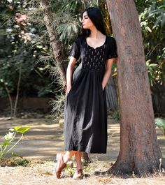Our wear-everywhere black dress will instantly add an air of elegance to the room. The design features short sleeves and front and back Yoke in ikat fabric . Kurta Patterns, Kurta Designs, Dress Designs, Desi Wear, Indian Dresses, Girl Fashion, Dress Fashion, Fashion Ideas, Fashion Inspiration