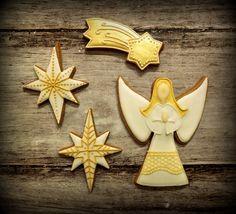 Christmas angel and star cookies