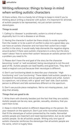 Writing autistic characters part 1/3