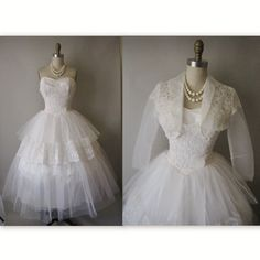 50's Wedding Dress // Vintage 1950's Strapless by TheVintageStudio, $284.00