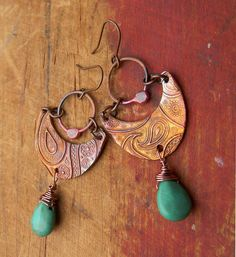 """""""I'm in a Paisley Kind of Mood"""" copper earrings by Gloria Ewing."""