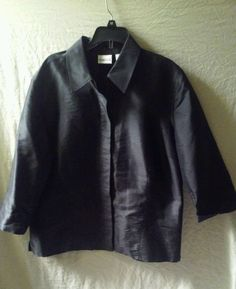Chico's Buttoned Black Silk Evening Blouse Top Size 2 Large #Chico's #Chico'sEveningBlouseSize2Large