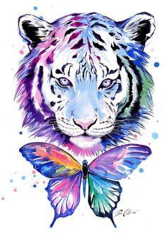 Tigres y mariposas firmado Art Print por PixieColdArt en Etsy Animal Paintings, Animal Drawings, Art Tigre, Watercolor Tiger, Tiger Art, Tiger Tattoo, Tiger Butterfly Tattoo, Cat Art, Fantasy Art
