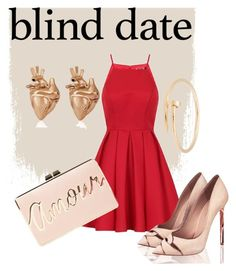 """Red date"" by victoriavvg on Polyvore featuring moda, Chi Chi, BCBGMAXAZRIA, Cartier y StrangeFruit"