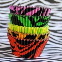 Assorted Tiger Stripes Cupcake Liners 50 - instead of a cake Retro Party, Neon Party, 80s Party, Party Time, 80s Birthday Parties, 16th Birthday, Cupcake Liners, Cupcake Holders, Cupcake Cases