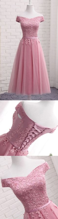 Pink Homecoming Dresses, Long Evening Dresses, Cute A Line Lace Off Shoulder Prom Dress,Lace Evening Dresses,Pink Junior Homecoming Dresses Junior Homecoming Dresses, Homecoming Dresses Long, A Line Prom Dresses, Short Prom, Prom Long, Junior Dresses, Dress Prom, Long Dress For Prom, Bridesmaid Dress