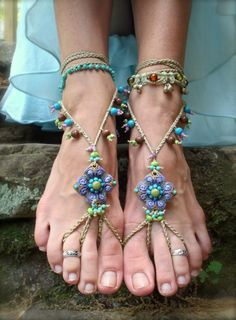 PURPLE BAREFOOT SANDALS beaded crochet sandals foot jewelry beach dance yoga gypsy anklet.  I'm SOOO making a pair!