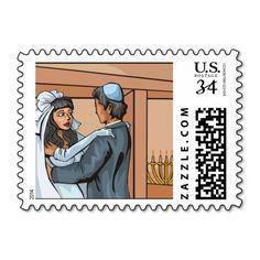 Postcard Jewish Wedding Ceremony Postage Stamp