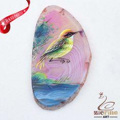 Hand Painted Bird Agate Slice Gemstone Necklace Pendant Jewelry D1706 1451 #ZL #Pendant
