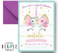 UNICORN Birthday invitation Unicorn invitation Printable