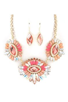 Marquise Christa Necklace Set in Sunset