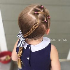 """999 Likes, 25 Comments - Cami Toddler Hair Ideas (@toddlerhairideas) on Instagram: """"A side criss-cross, braid, and low side braided pony! Quick, simple, and cute! Bow from my fav…"""""""