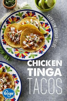 Don't reserve the slow cooker for winter, the flavors of summer will shine -- like this smoky, spiced Chicken Tinga. Perfect for taco night, top it with crema, cilantro, onion and lime. Slow Cooker Recipes, Crockpot Recipes, Chicken Recipes, Cooking Recipes, Healthy Recipes, Slow Cooking, Cooking Torch, Healthy Food, Real Cooking