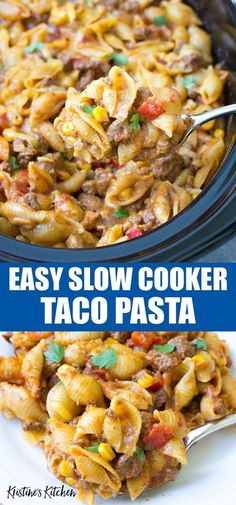 This crockpot casserole is made with pasta shells, … Easy Slow Cooker Taco Pasta! This crockpot casserole is made with pasta shells, beef and cheese. It's one of our favorite family dinner recipes! Beef Bourguignon, Mexican Food Recipes, Healthy Recipes, Slow Cooker Recipes Mexican, Slow Cooker Recipes Family, Healthy Dishes, Healthy Meals, Delicious Recipes, Pastas Recipes