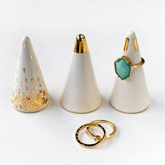 White and Gold Ring Cone - Ring Holder, Valentine's Day, Anniversary, Engagement Bridesmaid Gift, Wedding Favor by ModernMud on Etsy https://www.etsy.com/listing/235386810/white-and-gold-ring-cone-ring-holder