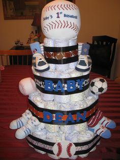 All sports themed diaper cake