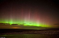 Northern Lights                            Green glory: Photographer Reed Ingram Weir took this beautiful picture from the A1 near Alnwick, Northumberland