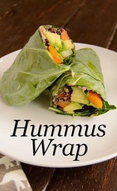 Easy Hummus Wrap. This healthy wrap uses collard greens! Vegan, gluten free, healthy easy summer lunch idea. Ready in minutes. | www.PancakeWarriors.com