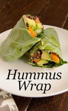 Easy Hummus Wrap. This healthy wrap uses collard greens! Vegan, gluten free, healthy easy summer lunch idea. Ready in minutes. | www.PancakeWarriors.com