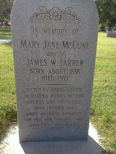 Interesting epitaph in Cedar City Cemetery, Cedar City, Utah, United States