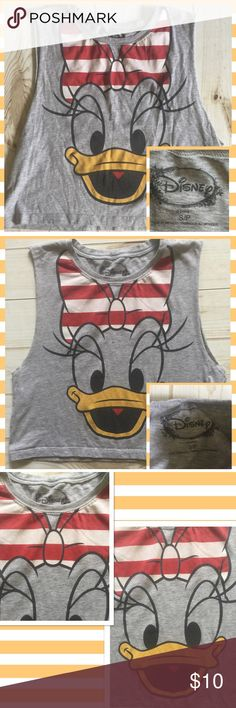 "Disney Daisy Duck grey t-shirt muscle Disney size small adorable ""muscle"" t-shirt length/ 18"" arm to arm 18"" open arm sleeves -  see picture slight bleeding in the bow (red into white)   SKU#:A4 Disney Tops Muscle Tees"