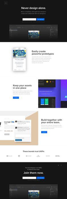 UXPin Landing Page Design - Best Web Design Inspiration & UI Inspiration Mobile Web Design, Web Ui Design, Dashboard Design, Best Web Design, Graph Design, Tool Design, Wordpress, Landing Page Design, Website Design Inspiration