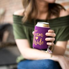 Items similar to Team Bride Drink Coolers Gold Drinks, Can Holders, Bachelorette Party Favors, Matching Tattoos, Team Bride, Party Games, Drink Sleeves, Blush Pink, Etsy