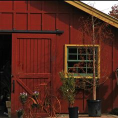 Red Barn Door...an look at that beautiful window!