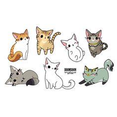[뽐순] 고양이 일러스트5 / 고양이 수제스티커 / 고양이 캐릭터 : 네이버 블로그 Cute Kawaii Girl, Kawaii Art, Chibi Cat, Cute Chibi, Cartoon Kunst, Cartoon Art, Cute Animal Drawings, Cute Cat Drawing, Kawaii Doodles
