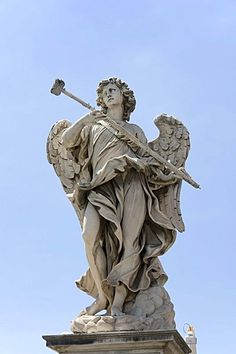 Angelo con la spugna, Angel with the sponge, by Antonio Giorgetti, one of the ten statues of angels with symbols of the Passion, Statue di angeli con i simboli della Passione, design by Bernini, Ponte Sant'Angelo, Angels bridge, Rome, Latium, Italy, Europ