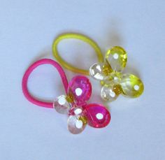 Yellow and Pink Butterfly Button Ponytail by PrettyPonytails11, $4.50