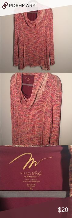Miraclesuit, Fall Colored Sweater Size XL Like New!  Miraclesuit Sweater With built in shape wear tank.  Fall colors - Orange, Hunter Green, Browns, deep purple and pinks) Miraclesuit Sweaters Crew & Scoop Necks