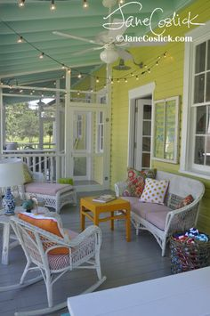 "Jane Coslick Cottages Cottage on the Green Tybee Island ""Happy Shack"" Costal Living Nov 2014 issue Love the bright colors! Beach Cottage Style, Beach Cottage Decor, Coastal Cottage, Coastal Decor, Coastal Living, Outdoor Rooms, Outdoor Living, Outdoor Decor, Style At Home"