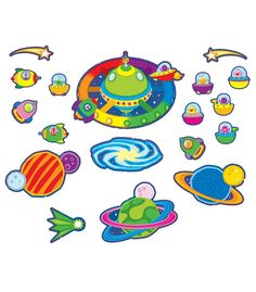 """Students will think that learning is out of this world with this colorful all around the room bulletin board set. This 38-piece space themed set includes: Space station (23.5"""" x 16.5"""") 3 planets and a galaxy Comet and 2 shooting stars 30 spaceships A teacher resource guide"""
