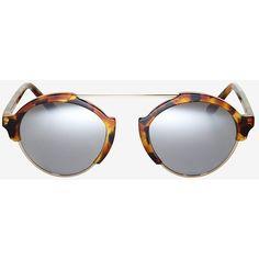Illesteva Milan III Tortoise Mirrored Sunglasses ($300) via Polyvore featuring accessories, eyewear, sunglasses, silver, round lens sunglasses, mirrored aviator sunglasses, silver mirrored sunglasses, tortoise sunglasses and silver mirrored aviators