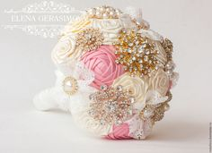 Items similar to Brooch Bouquet. Ivory blush pink gold Fabric Bouquet, Unique Wedding Bridal Bouquet on Etsy Wedding Brooch Bouquets, Bridesmaid Bouquet, Pink And Gold, Blush Pink, Fabric Bouquet, Ring Pillows, Bouquet Toss, Gold Fabric, Wedding Sets