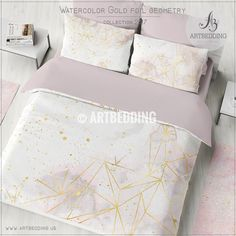 Gold geometry Duvet cover, Pink and gray watercolor gold foil geometry duvet cover, duvet cover